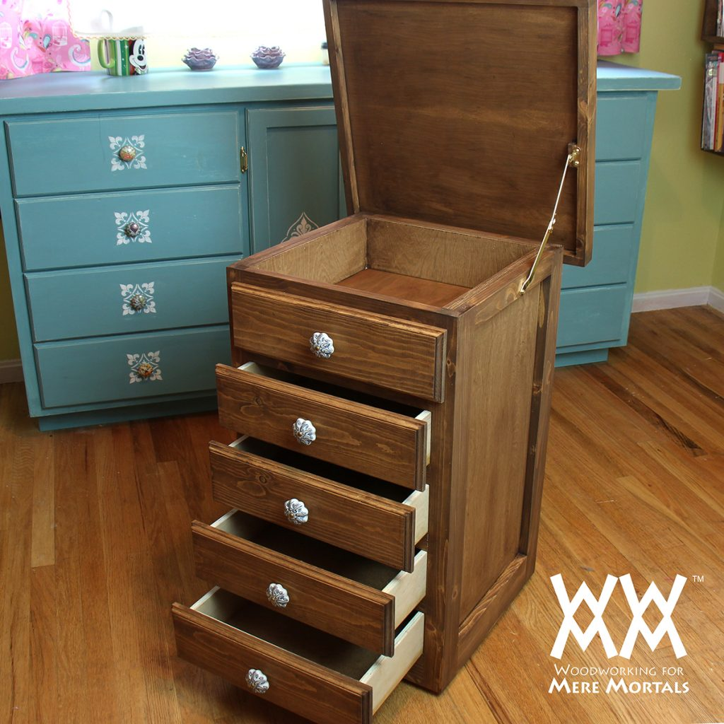 I Designed This Cabinet To Have Shallow Drawers For Storing Mostly Sewing  Supplies. Buttons And Needles And Such. The Top Is Hinged And Will Store  Spools Of ...