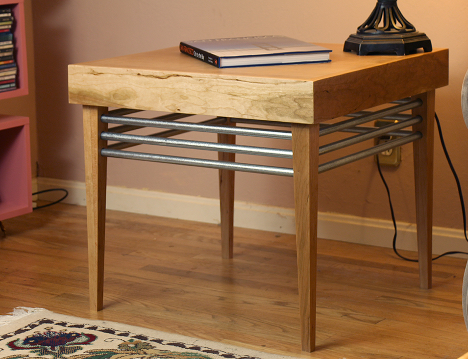 Wood and Steel End Table